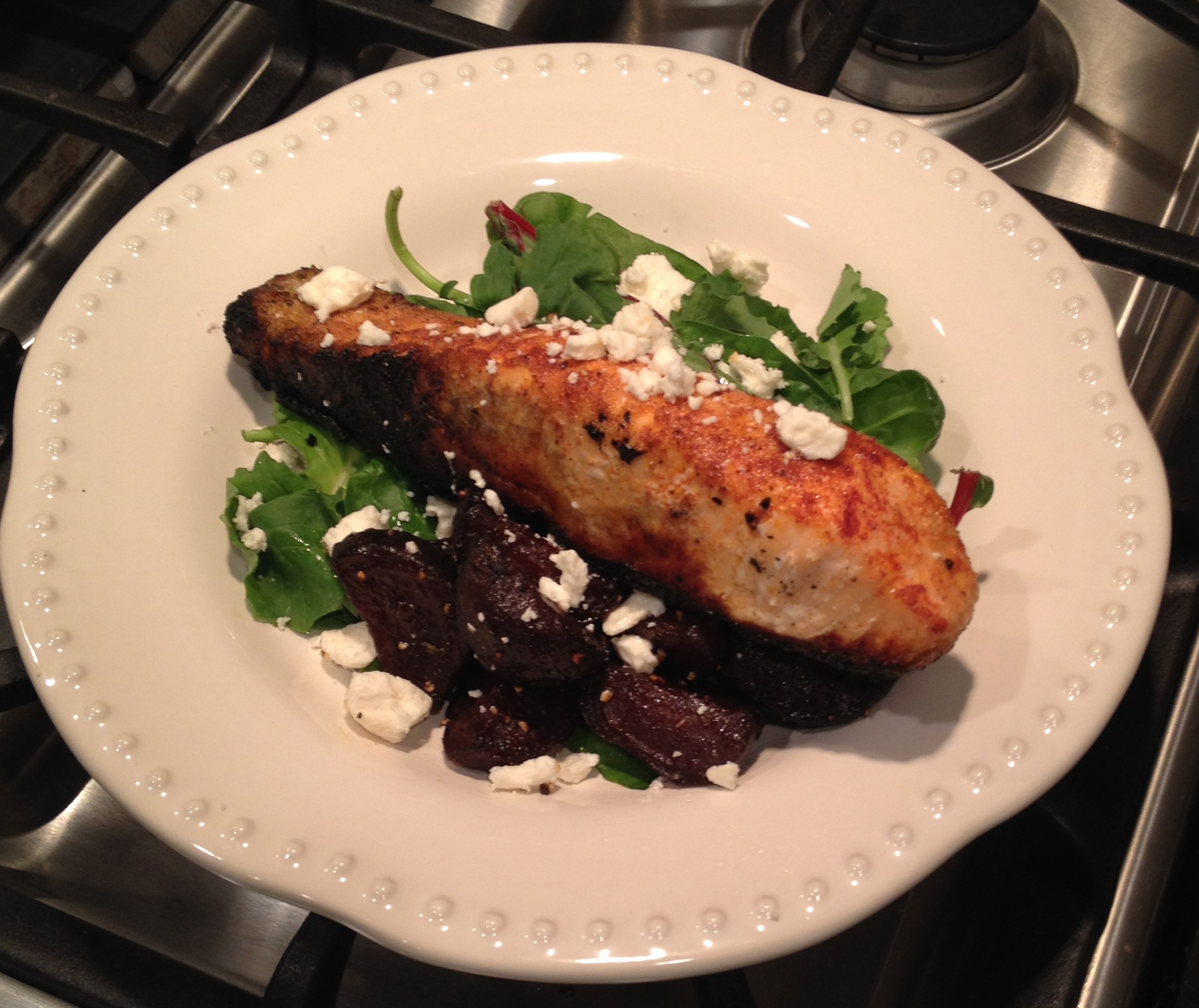 Grilled Salmon Salad with Roasted Beets & Feta